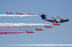 A400M & Red Arrows flyby
